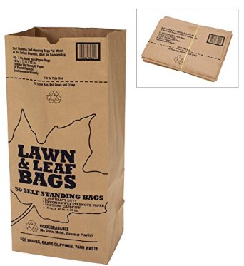 Kraft paper bags used in on-call yard waste service.